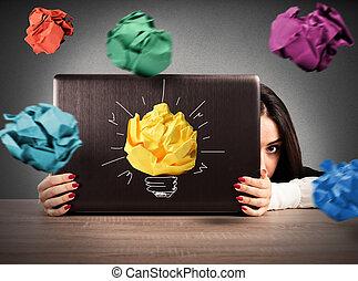 papel, ataque, bolas, escritório