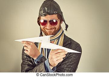 papel, aviador, avión, hombre
