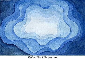 papel, azul, abstratos, corte, fundo, aquarela, ondulado