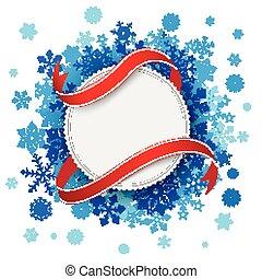 papel, azul, emblema, bandeira, snowflakes, branca