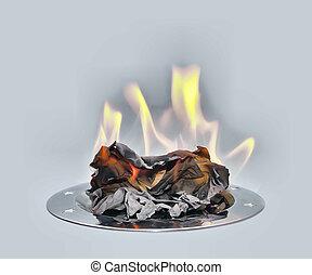 papel, bandeja., metal, queimadura