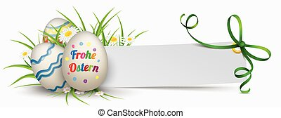 papel, bandera, verde, cinta, ostern, huevos de pascua