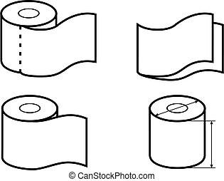 papel, banheiro, desenho, ícones, jogo, roll., embalagem
