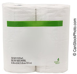 papel, banheiro, etiqueta, em branco, pacote