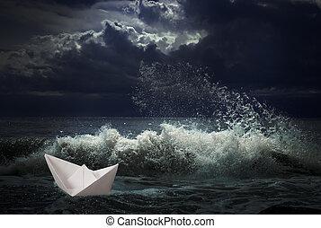 papel, barco, concepto, tormenta