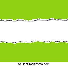 papel, blanco, rasgado, verde, copyspace