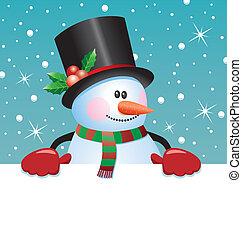 papel, blanco, tenencia, snowman