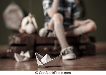 papel, bote, chão