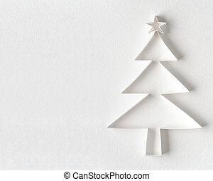 papel, branca, feito, árvore, Natal