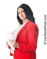 papel, branca, mulher, folha, segurando