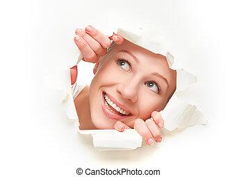 papel, buraco, através, cartaz, rosto, branca, mulher, peeking, rasgado