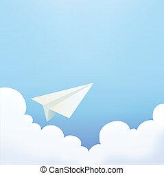papel, céu, avião