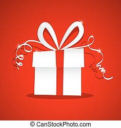 papel, caixa presente, ligado, vermelho, experiência., vetorial, presente, caixa, com, fita, illustration.