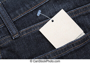 papel, calças brim, tag