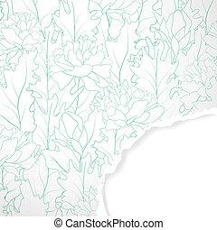 papel, campo, rasgado, flor