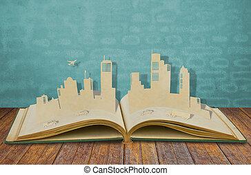 papel, car, cidades, corte, avião