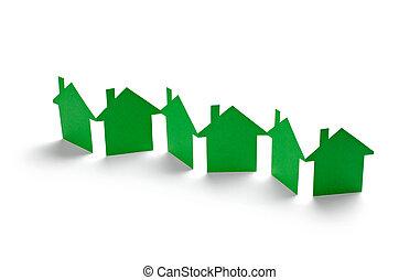 papel, casa, lar, bens imóveis, predios