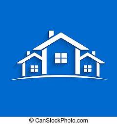 papel, casas, vector, ilustración