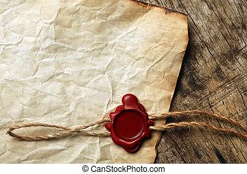 papel, cera, em branco, selo