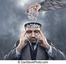 papel, cerebro, el suyo, hombre