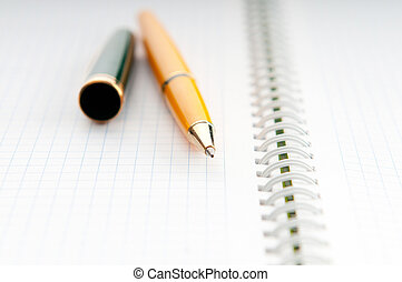 papel, cima fim, caneta, tinta