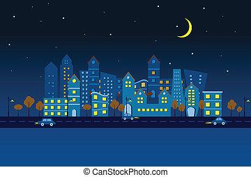 papel, ciudad, en, noche, vista