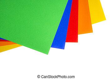papel, colorido, hojas