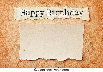 papel, con, rasgado, bordes, en, grunge, papel, fondo., feliz cumpleaños