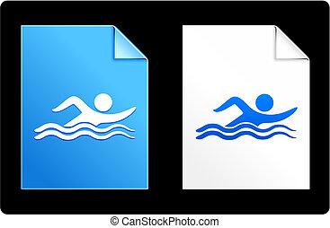 papel, conjunto, nadador