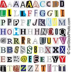 papel, corte, alfabeto, afuera