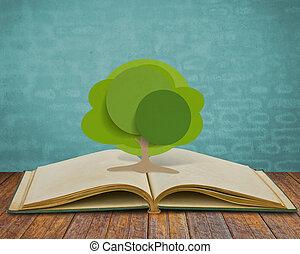 papel, corte, de, árbol, en, viejo, libro