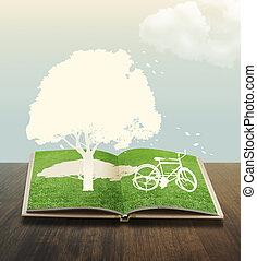 papel, corte, de, bicicleta, en, pasto o césped, libro