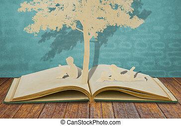 papel, corte, de, crianças, ler, um, livro