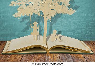 papel, corte, de, crianças, ler, um, livro, e, crianças, ligado, balanço, sob, árvore