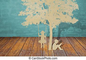 papel, corte, de, crianças, ler, um, livro, sob, árvore
