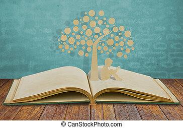 papel, corte, de, crianças, ler, um, livro, sob, árvore, ligado, antigas, livro