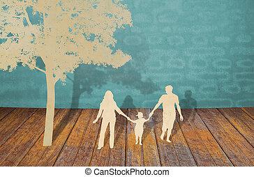 papel, corte, de, familia , símbolo