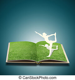 papel, corte, de, niña, hacer, yoga, en, viejo, libro, pasto o césped