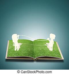 papel, corte, de, niño, en, pasto o césped, libro