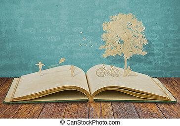 papel, corte, de, niños, juego, en, viejo, libro