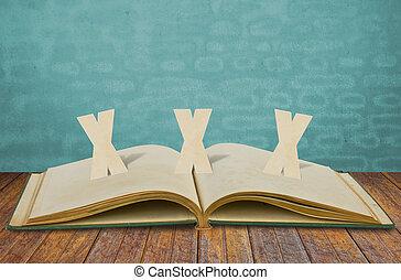 papel, corte, de, xxx, adulto, en, viejo, libro