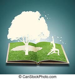 papel, corte, de, yoga, niña, en, viejo, libro, pasto o césped