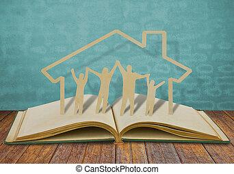 papel, corte, familia , símbolo, en, viejo, libro