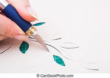 papel, corte, flor, mão, mulher