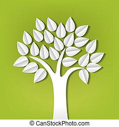 papel, corte, hecho, árbol, afuera