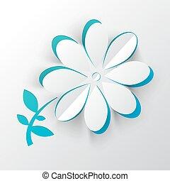 papel, corte, vector, flor