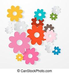 papel, corte, vector, flores coloridas, conjunto