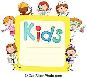 papel, crianças, desenho, ocupações
