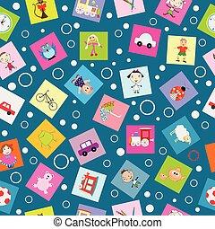 papel, crianças, embrulhando, caricatura, brinquedos