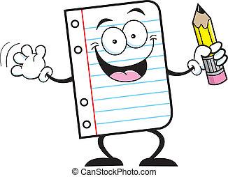 papel cuaderno, tenencia, un, lápiz